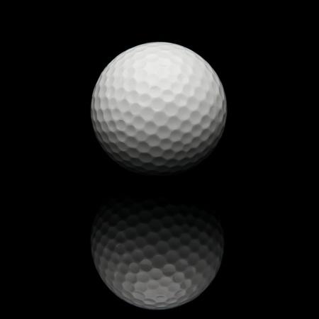pelota de golf: Pelota de golf sobre un fondo negro Foto de archivo