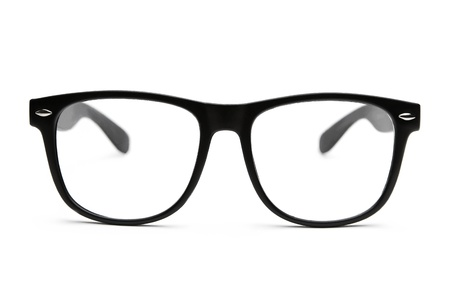 bifocals: Black retro nerd glasses on white background