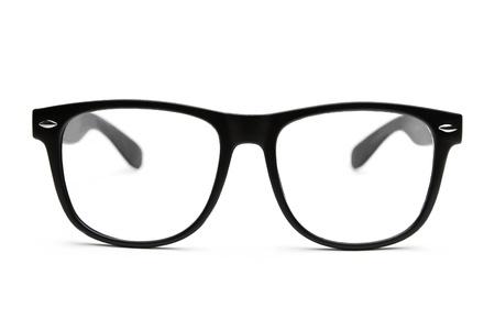 optometria: Czarny retro frajerem okulary na białym tle