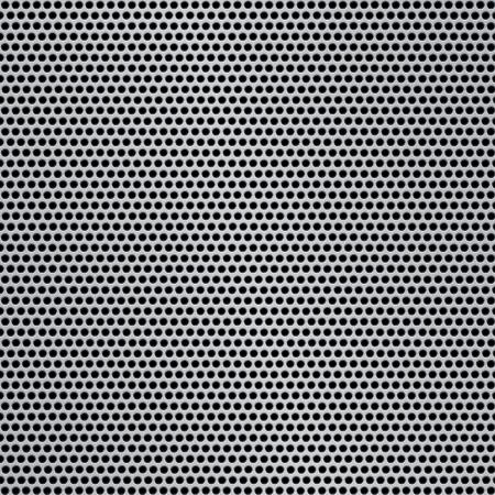 malla metalica: Plata brillante patrón de metal reflectante con agujeros redondos