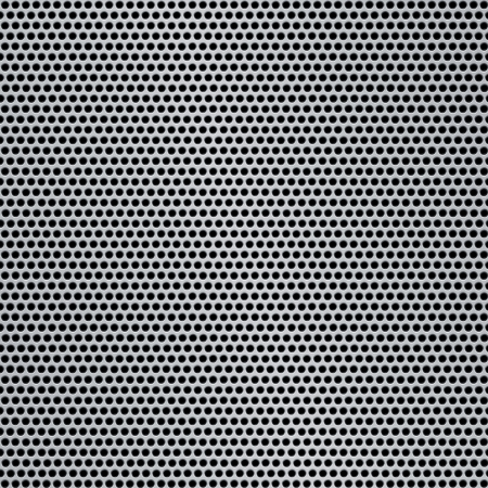 grille: Shiny silver metal pattern with reflective round holes Stock Photo