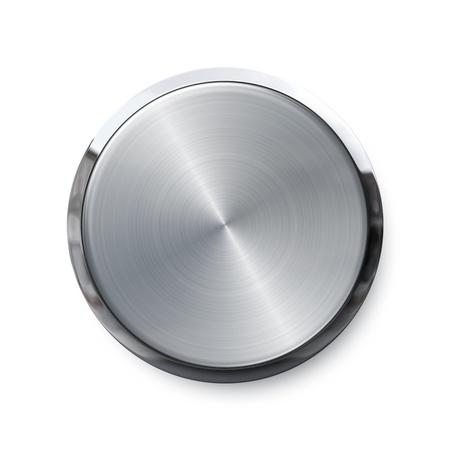 knop: Lege zilveren glanzende druk op de knop Stockfoto