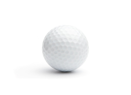 golf swings: Close up of a golf ball isolared on white Stock Photo