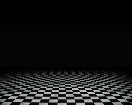 tablero de ajedrez: Grunge vac�o interior con piso de m�rmol a cuadros