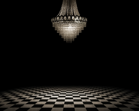 chandeliers: Grunge empty interior with checkered marble floor Stock Photo