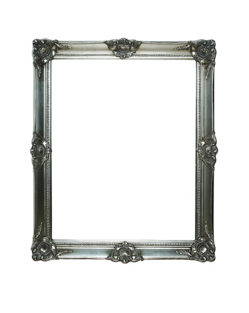Vintage silver frame with two clipping paths photo