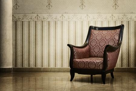 silla: Silla vac�a en el interior de la vendimia de lujo Foto de archivo