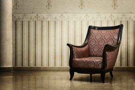 Vintage empty chair in luxury interior photo