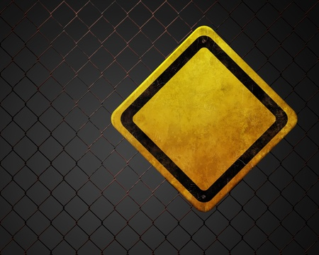 Grunge empty warning sign at chainlink fence Stock Photo - 11112165