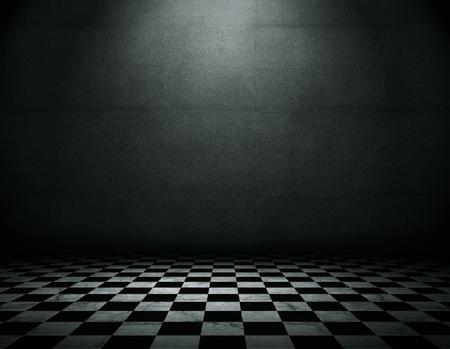 tablero de ajedrez: Sala de grunge vacío Foto de archivo