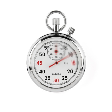beat the competition: Speeding stopwatch on white background with clipping path Stock Photo