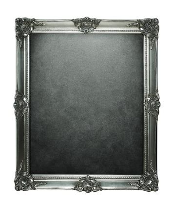 Marco de plata de la vendimia con trazado de recorte para dentro y fuera de Foto de archivo