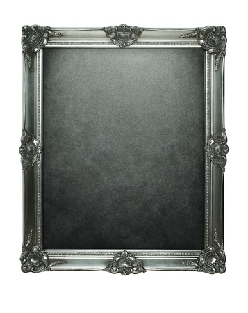 picture frame on wall: Vintage silver frame with clipping path for inside and outside