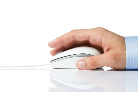detail internet computer: Male hand holding computer mouse isolated on white