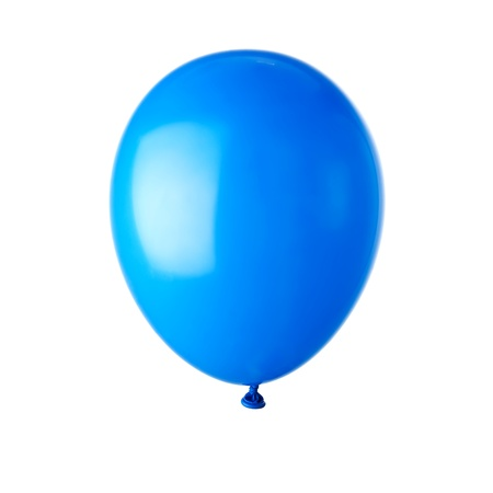 Single blue balloon isolated on white photo