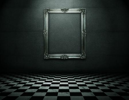 checks: Silver picture frame in runge empty interior Stock Photo