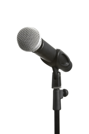 microphone stand: Microphone on stand, isolated on white background