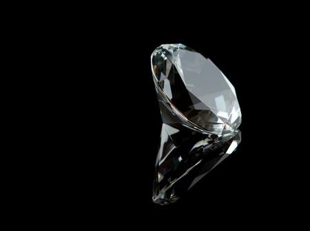 diamond stones: Diamond on black background Stock Photo
