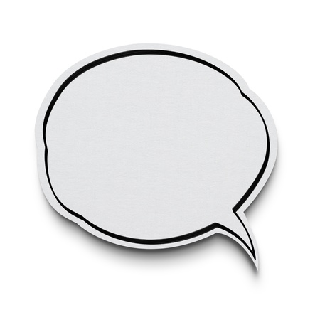 message bubble: Paper speech bubble on white background with clipping path