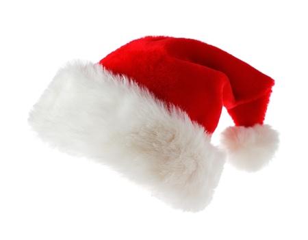 cappello natale: Cappello da Babbo Natale isolato su sfondo bianco