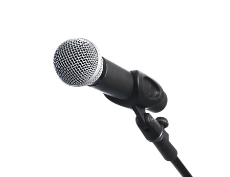 narrate: Microphone on stand, isolated on white background