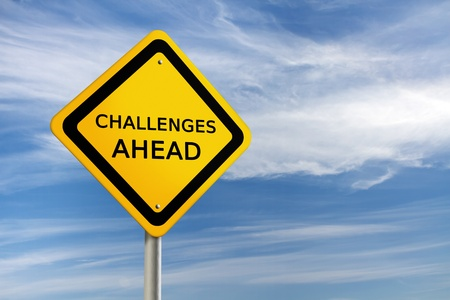 opportunity: Challenges ahead road sign Stock Photo