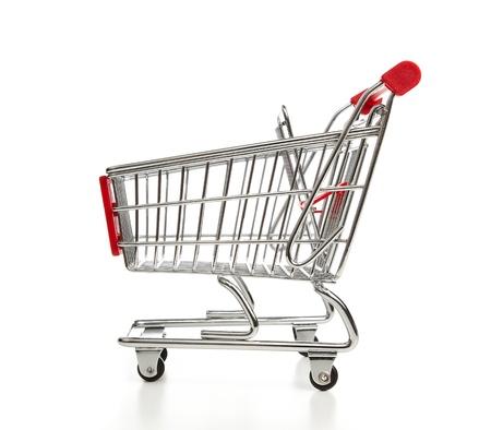 Shopping cart isolated on white photo