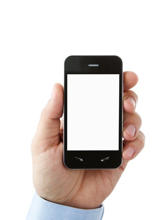 talk show: Hand holding blank smart phone with clipping path for the screen