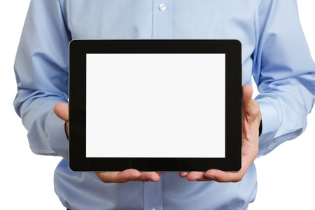 holding blank sign: Man holding blank digital tablet with clipping path for the screen