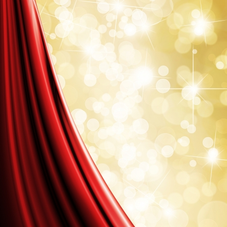rideaux rouge: Fond paillettes d'or Banque d'images