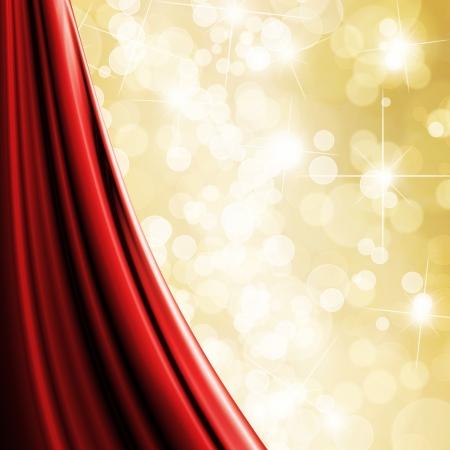 cortinas rojas: Fondo de brillo del oro