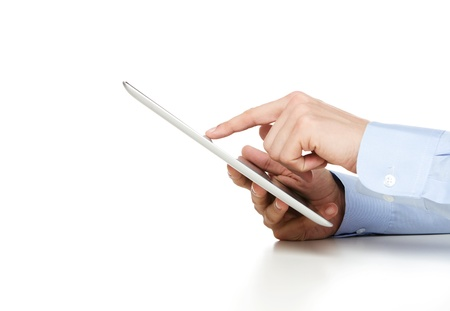 tablet pc: Human hands working on digital tablet isolated with copy space