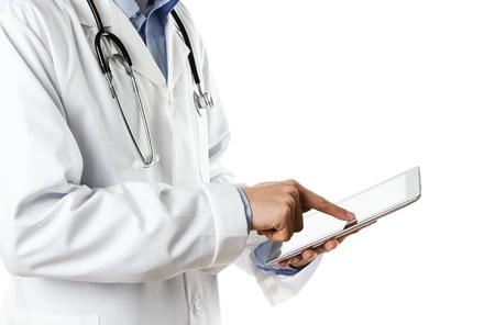lekarz: Doktor pracuje nad cyfrowym tablecie
