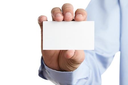 hand business card: Mano umana tenendo carta bianco business con copia spazio