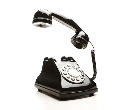 hands off: Tel�fono retro sobre fondo blanco