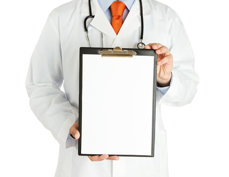 Doctor holding blank clipboard isolated on white photo