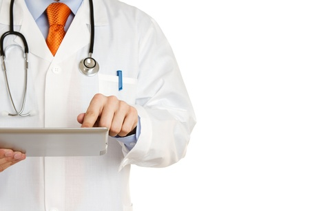 doctor tablet: Doctor working on a digital tablet with copy space