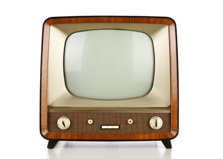 La televisión vintage sobre fondo blanco