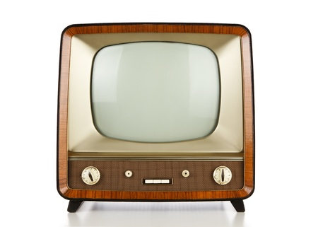 Vintage television over white background photo