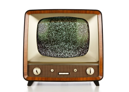 Vintage television with static on the screen Stock Photo - 11557173