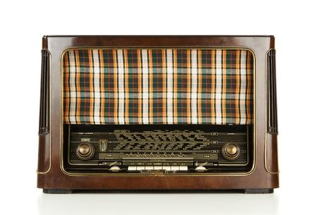 Vintage radio isolated on white background photo