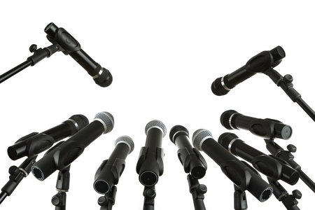 Press conference microphones isolated on white Stock Photo