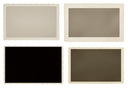 frame photo: Set of four blank vintage photos with clipping paths