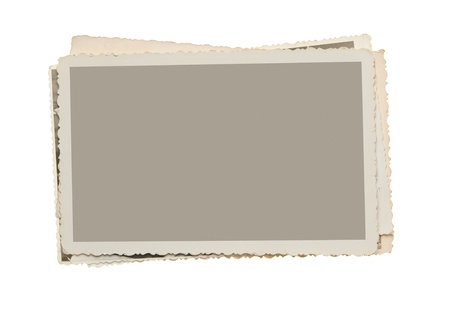 Pile of blank vintage blank photos with clipping path Stock Photo