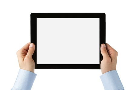Human hands holding large digital tablet  Stock Photo