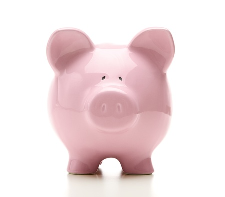 Front view of piggy bank isolated on white background photo