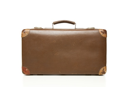Vintage leather suitcase isolated on white Stock Photo