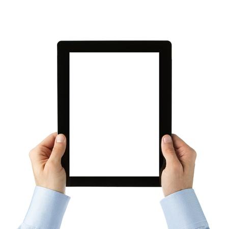 holding notes: Human hands holding digital tablet