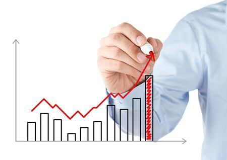 financial leadership: Businessman drawing stock chart