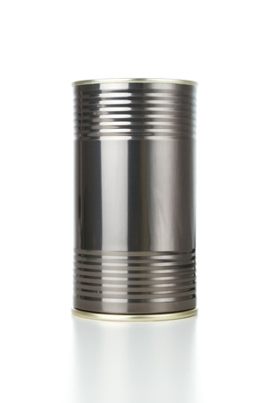 canned goods: Blank aluminum can isolated on white background